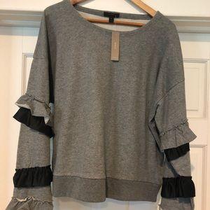 New Jcrew Sweatshirt with ruffle sleeves
